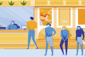 Legalized Marijuana Stores Tend to Customers Standing in Long Queues